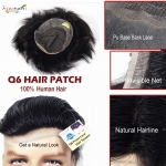 Q6 Hair Patch ,Natural Front hair Line  Clear PU base back lace  French  hair wig (9x6) (Natural Black )