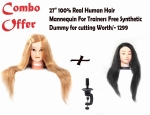 "Combo 27""100% Real Human Hair Mannequin For Trainers free Synthetic hair dummy"