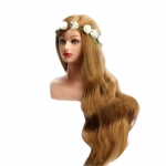 RITZKART 30 inch long 80% Real hair Head With Shoulder blonde practice dummy