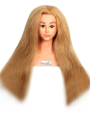 RITZKART IMPORTED brand 28 inch long heavy & soft Hair 100% Real Human Blonde Hair + high temperature Training Head With Shoulder High Grade Hairdressing Head Dummy