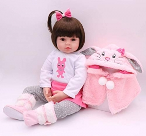 "RITZKART 100% Realistic Silicon Skin Care 1 Year Baby Doll Lifelike Soft Vinyl Princess Playmate 25"" Baby Doll with Pink Rabbit Outfit for kids Gifts"