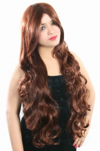 Ritzkart 100%soft 40 inch long & wavy curly copper brown hair synthetic wig 6802