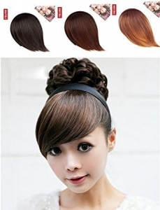 RITZKART Girl's Hair Band With Side Bang Fringe extension for Cute Look, (3 color) available (golden brown mix)