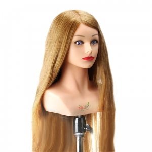 RITZKART blonde color 24 inch long 80% Real hair Head With half Shoulder for practice/ makeup/ dressing/ cutting for trainer dummy