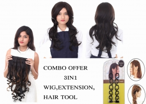 Combo Offer Women Fibre Synthetic Black Natural wavy curly medium hair wig 211 4 with Golden black  curly Hair Extension With one hair accessories tool