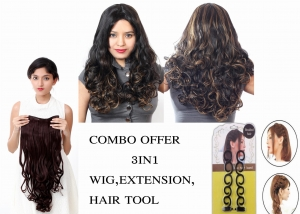 Ritzkart Combo Offer Women 100% Feel Real Hair Fiber Heat Resistance Synthetic Wavy curly golden black Wig with Maroon Curly Extension with 2pc Hair Accessories Tool
