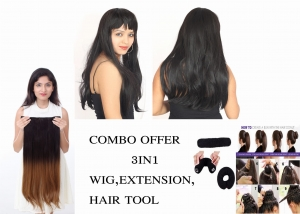 Ritzkart Combo Offer  Women Fiber Synthetic 30 inch Black Natural long hair wig 2171 HT3 with half black half Golden Extension with 1pc of donut hair accessories