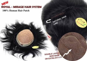 Ritzkart 10x8 Natural Black (Dark Brown) Human Hair Royal Mirage Patch Double Layer Skin Base Natural Hair Line With Extra Stitch Base Wig Non Surgical Men Hair Replacement System For Long life