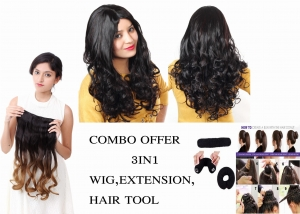 Ritzkart Combo Offer Women 100% Feel Real Hair Fiber Heat Resistance Synthetic curly maroon brown Wig with half black half golden Curly Extension with 1pc donut Hair Accessories