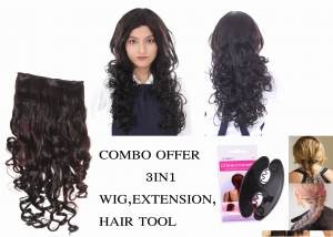 Ritzkart Combo Offer Women imported Black curly hair wig 133107 3# with maroon black curly hair extension with 1pc braid Tool Hair Accessories