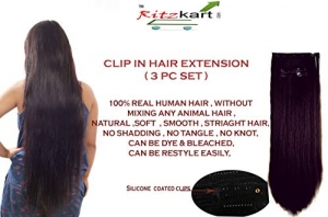 "RITZKART 100% Remy Indian Women Hair Extension 3 PC SET 7 CLIP ON Dark Brown 24"" long Human hair Original/human hair/Real Hair Extensions with Instant Volume And Thickness Straight hair (100 Gm)"