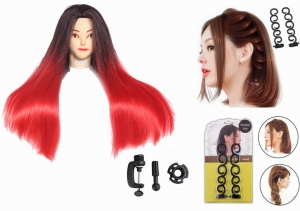RITZKART Imported Synthetic Feel Natural human soft 27 inch long Hair black red mix dummy for Practice/Cutting / styling/mannequin For Trainers with 2PC Women Fashion Accessories Hair Styling Clip