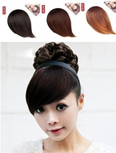RITZKART Girl's Hair Band With Side Bang Fringe extension for Cute Look, (3 color) available (black)