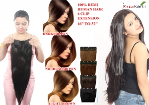 Ritzkart 6 Clip Fine Quality  (26 Inch, Natural Black) Remi Human Soft Hair Extension 16 to 32 Inch