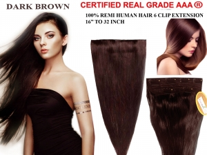 Ritzkart 6 Clip Fine Quality  (16 Inch, Dark Brown) Remi Human Soft Hair Extension 16 to 32 Inch