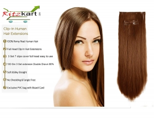 "RITZKART 100% Remy Indian Women Hair Extension 3 PC SET 7 CLIP ON LIGHT BROWN 24"" long Human hair Original/human hair/Real Hair Extensions with Instant Volume And Thickness Straight hair (100 Gm)"