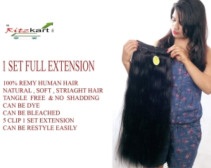 "RITZKART 100% Remy Human Hair Extensions 24"" long & Natural Black Straight Soft Hair Extensions with Instant Volume (1 pc set 5 clips,100 Gm)"