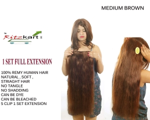 "RITZKART 100% Remy Human Hair Extensions 24"" long & LIGHT BROWN Straight Soft Hair Extensions with Instant Volume (1 pc set 5 clips,100 Gm)"