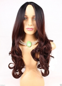 26 Inch Long Natural Type Black With Dark Wine Red Two Tones Highlights Curly