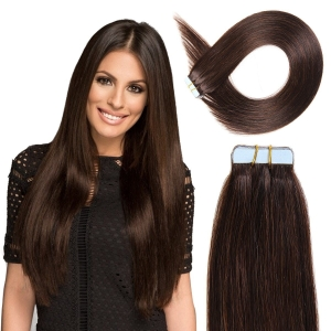 Ritzkart 26 inch Dark Brown Real Human Hair Tape Extensions For Women (all size available in each hair type & length)