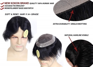 RITZKART 10x7 Natural Black USA KOKON brand Mono Base Hair Patch with Feel Real Skin 100% Human Hair Men Wig/Hair Replacement System