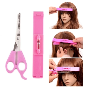 RITZKART Hair Cutting Tools Kit,Women Lady Girls Cosmetic Plastic Hair Clip Tool And Stainless Steel Scissors Bangs Cut Kit for Easily Trim at Home (4pc)