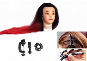 RITZKART Imported Synthetic Feel Natural human soft 27 inch long Hair black red mix dummy for Practice/Cutting / styling/mannequin For Trainers with French Braid Twist Hair Styling Braider Tool Clip
