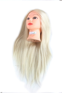 RITZKART Imported Synthetic Hair practice Dummy Feel Natural human soft Hair Off White hair long dummy for Practice/Cutting/styling/Makeup mannequin For Trainers (white dummy)