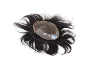 RITZKART IMPORTED HUMAN HAIR TOUPEE/WIG FOR COVERING BALD AREA STRAIGHT BLACK HAIR SWISS LACE HAIR PATCH 9X7