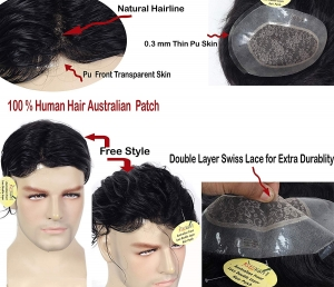 Ritzkart 9x7 Size 100% Human hair Men patch Australian base 0.03 ultra Thin Natural Skin PU Front hairLine,With Double Layer Swiss Lace Hair Men Wig Hair Replacement System For Any Style & Long life