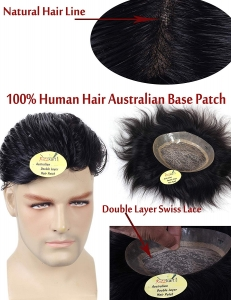 Ritzkart 9x7 Size Australian base 100% Human hair Men patch Natural Skin Hair Line,With Double Layer Swiss Lace Hair Men Wig Hair Replacement System For Any Style & Long life