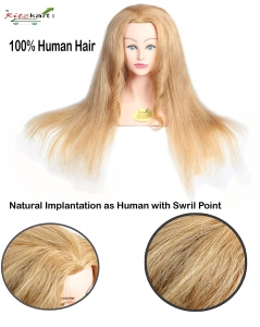 "100% Human Hair Dummy 28""long heavy & soft Hair Real Human Blonde Hair + high temperature Training Head With Shoulder High Grade Hairdressing Head Dummy"