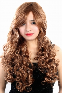 Ritzkart 100% soft & silky Natural blonde 30 inch curly synthetic hair wig 1163
