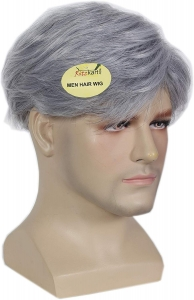 Men Hair Wig,Gray color For handsome look short Synthetic Men wig High Hot heat resistant Party hair Wig BY RITZKART