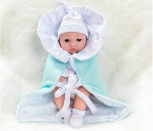 Baby Doll,100 % Imported Cute Baby Dolls Soft Silicone Skin Care New Born Baby Children Best Gift Playmate Dolls for Kids {10 inch Blue Color}