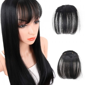 Women Hair Fringe Clip for Pretty Girls, 20 cm Length Cover Baldness Small Area, Feeling 100% Human Hair Bangs High Quality Hair Bangs Extension Hairpiece (BLACK) BY Ritzkart