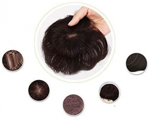 Hair Topper For Men,Feel Real Human Hair for Covered Baldness top Area with Clip on Hairpiece Black Color For Men Daily/Party Use By RITZKART (5x5 U shape)