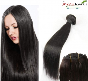 WOMEN HUMAN HAIR WEFT 26 inch STRAIGHT REMY HAIR DOUBLE DROWN INDIAN HUMAN HAIR EXTENSION WEAVES 1 BUNDLE 100GM (natural black )