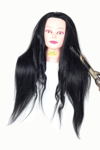 Original Human Hair Dummy 100% Real Hair with High Grade Natural Black Hairdressing Mannequin hair dummy For Competition, Training, practice, curling and more styling (32-34 inch long)