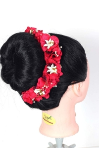 Flower Hair Bun Beautiful Hair Gajra Accessories For Women, Artificial flower Gajra Hair Bun for Occasion/Festival 20 Gram, (Red, Pack of 1)