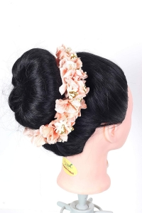 Flower Hair Bun Beautiful Hair Gajra Accessories For Women, Artificial flower Gajra Hair Bun for Occasion/Festival 20 Gram, (Peach color, Pack of 1)