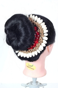 Flower Hair Bun Accessories Beautiful Hair gajra with white Red flower bun Accessories For Women, Artificial gajra Hair Bun accessories for Occasion/Festival,White Golden Stone, Pack of 1)