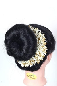 Flower Hair Bun Accessories Beautiful Hair gajra with white Mogra flower bun Accessories For Women, Artificial gajra Hair Bun accessories for Occasion/Festival,White flower, Pack of 1)