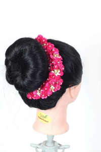 Flower Hair Bun Accessories Beautiful Hair gajra with Pink flower bun Accessories For Women, Artificial gajra Hair Bun accessories for Occasion/Festival,PINK, Pack of 1)