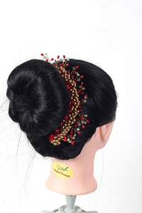 Flower Hair Bun Accessories,Beautiful Hair gajra with Red flower bun Accessories For Women, Artificial gajra Hair Bun accessories for Occasion/Festival,Red, Pack of 1)
