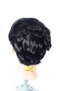 Artificial Hair Bun Funky Curly Elastic hair bun flexible Natural Black With Make Upper 3 Flower multi purpose bride casual hair volume make Beautiful Bun/Juda hair by Ritzkart