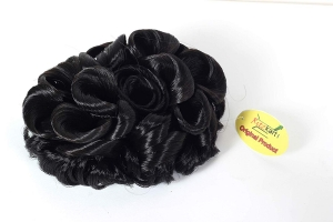 Artificial Hair Bun Funky Curly Elastic hair bun flexible Natural Black multi purpose bride casual hair volume make Beautiful Bun/Juda hair by Ritzkart