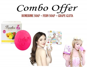 Combo Offer Bumebime Soap + Fern Soap + Grape Gluta SOAP For Body Whitening (combo 3 whitening soap)