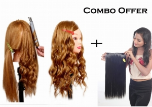 Practice Hair Dummy 85% Real Human Hair 30 inch long & soft blonde color hair Training/practice dummy WITH COMBO OFFER women hair straight extension natural black