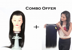 50% Fiber Heat Original Hair Dummy 30 inch Long Soft & 220c Degree tasted Black hair For Curly/Styling/Practice with COMBO OFFER Women Synthetic Hair Extension Straight & 25 inch long